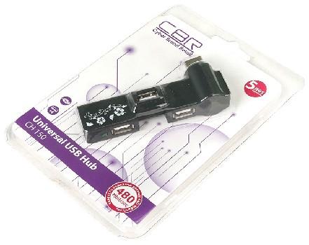 USB-концентратор CBR CH-150, 4 порта, софттач, USB 2.0, ноут.