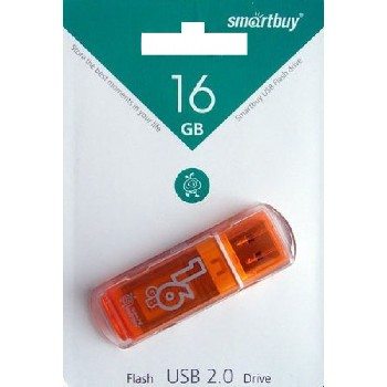 Накопитель Flash Drive USB 2.0 16 Gb Smart Buy Glossy series (оранжевый)