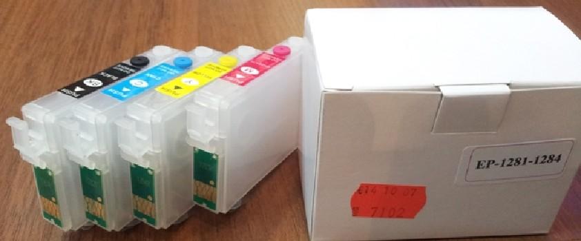 Комплект перезаправляемых картриджей Epson T1281-1284 S22/SX125/130/420 4шт IST (шт.)