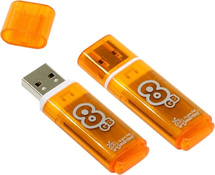 Накопитель Flash Drive USB 2.0 8 Gb Smart Buy Glossy series (оранжевый)