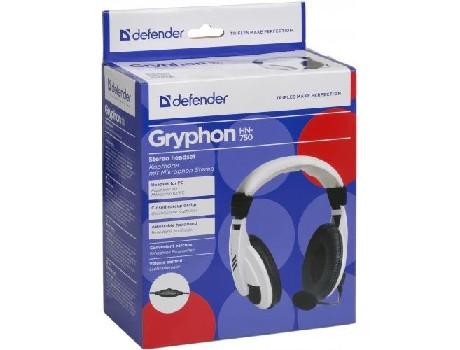 Наушники проводные полноразмерные Defender с микрофоном Gryphon 750 (белый)