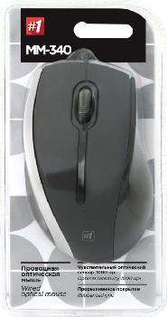 Мышь проводная (USB)  Defender оптическая MM-340 3кн. (универсальная) (чёрный/серый)