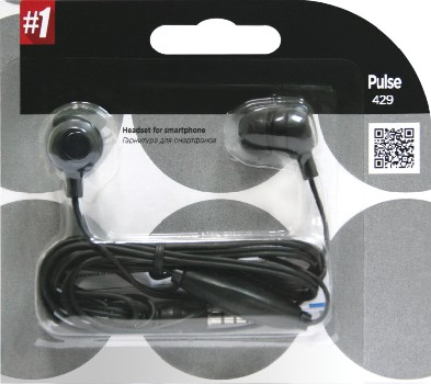 Наушники проводные вставные Defender с микрофоном Pulse 429 (черный)