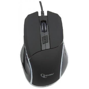 Мышь проводная (USB)  Gembird  MG-500 5кн.+колесо-кнопка (игровая) (черный/подсветка