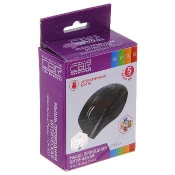 Мышь проводная (USB)  CBR оптическая CM 307 3кн. (универсальная) (чёрный)
