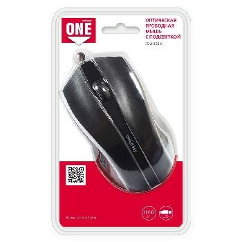 Мышь проводная (USB)  Smart Buy оптическая ONE 338 (с подсветкой) 3кн. (универсальная) (чёрный)