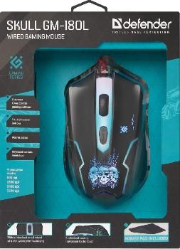 Набор проводной (USB)  Defender (Мышь+Коврик) Skull GM-180L  подсветка цв 6кн. (игровая) (чёрный)