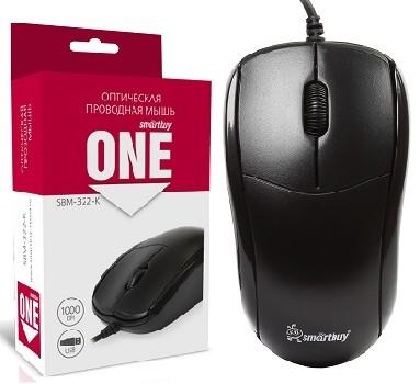 Мышь проводная (USB)  Smart Buy оптическая 322 3кн. (универсальная) (чёрный)