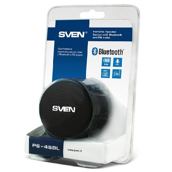 Акустика переносная (1.0) Bluetooth SVEN PS-45BL FM/MP3/microSD (3W) металл/пластик (чёрный)