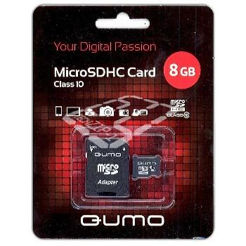 Карта памяти micro SDHC 8Gb Class 10 Qumo (+адаптер SD)