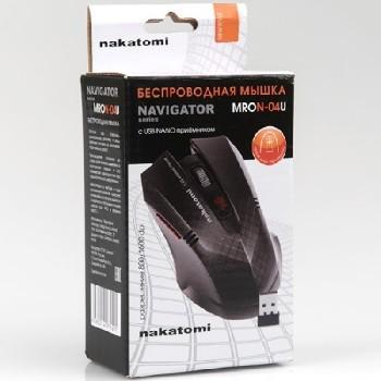 Мышь беспроводная (USB)  Dialog оптическая MRON-04U Nakatomi Navigator RF 6кн. (мультимедиа) (чёрный