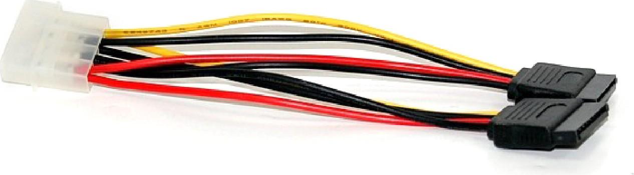 Переходник VCOM SATA питание один IDE 4pin -> 2 SATA 15cm, 15cm