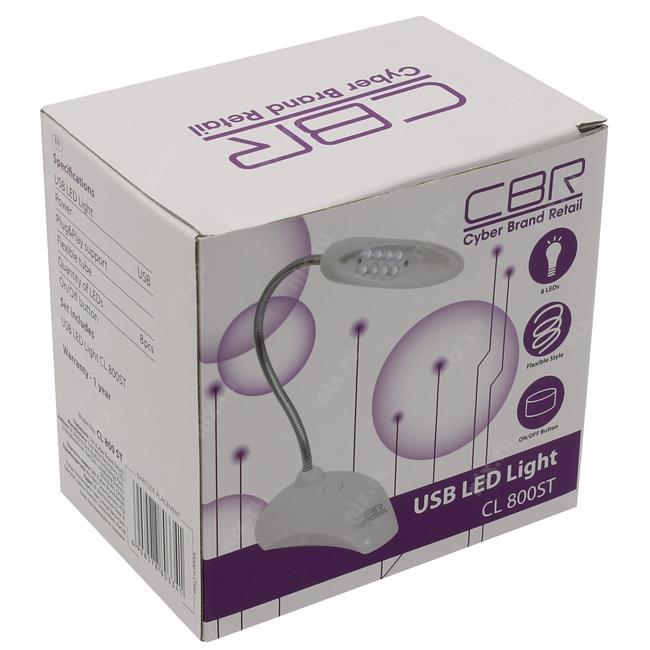 Светодиодная лампа CL-800ST бел., 8 диодов, USB